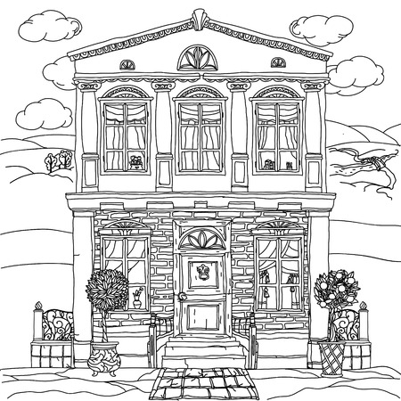 art therapy: Contoured Black and white illustration of a house with details for adult coloring book or for zen art therapy anti stress drawing. Hand-drawn, vector,very detailed, for coloring, poster design. Illustration