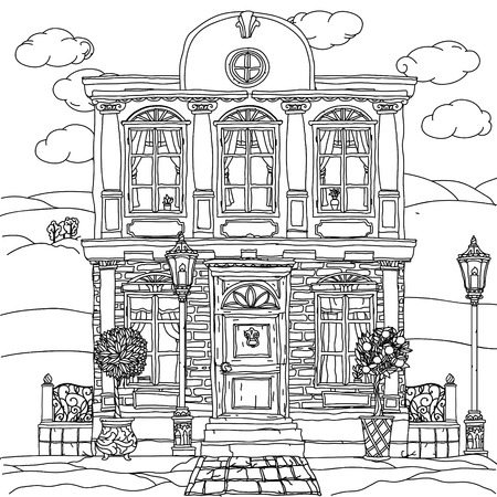 tree line: Contoured Black and white illustration of a house with details for adult coloring book or for zen art therapy anti stress drawing. Hand-drawn, vector,very detailed, for coloring, poster design. Illustration