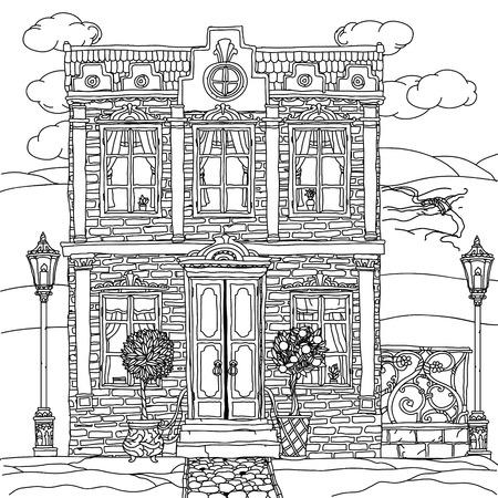 Zwart-wit afbeelding van een huis met de details voor volwassen kleurboek of voor zen beeldende therapie antistress tekenen. Hand getekende, vector, zeer gedetailleerd, voor kleurboek, poster ontwerp, niet gekleurd