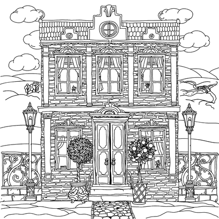 white window: Black and white illustration of a house with details for adult coloring book or for zen art therapy anti stress drawing. Hand-drawn, vector,very detailed, for coloring book, poster design, uncolored Illustration