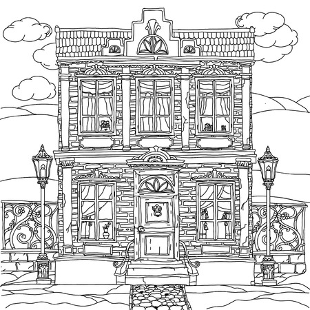 uncolored: Black and white illustration of a house with details for adult coloring book or for zen art therapy anti stress drawing. Hand-drawn, vector,very detailed, for coloring book, poster design, uncolored Illustration