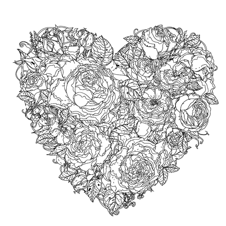 uncolored: Uncolored heart by roses in zenart style, could be used for Adult colouring book. Hand-drawn, doodle, vector the best for your design, wedding cards, coloring book. Black and white. Illustration