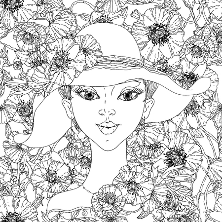 70's: uncoloured Beautiful fashion women with abstract hair and 70s style hat, poppies floral elements Hand-drawn, retro, doodle, vector, uncoloured.  for design, textiles, posters, coloring book in vector.