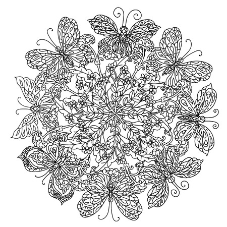 butterfly stroke: mandala shaped contoured flowers, leaves and butterfly for adult coloring book in zen art style for anti stress drawing. Hand-drawn, retro, doodle, vector, black and white, for coloring book or poste. Illustration