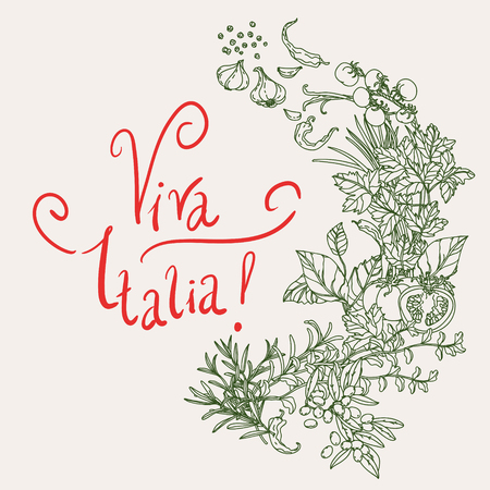 italia: wreath of vector italian cuisine elements. Hand drawn silhouette on green background. includes words Viva Italia. Vegetables and herbs, olives, tomatoes, garlic. Detailed, for restaurant menu or cards Illustration