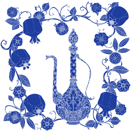 iftar: Oriental traditional patterned jug, Flowering branch and pomegranate fruits as detailed silhouette blue on white background Vector illustration. The best for your design, textiles, posters, t-shirt