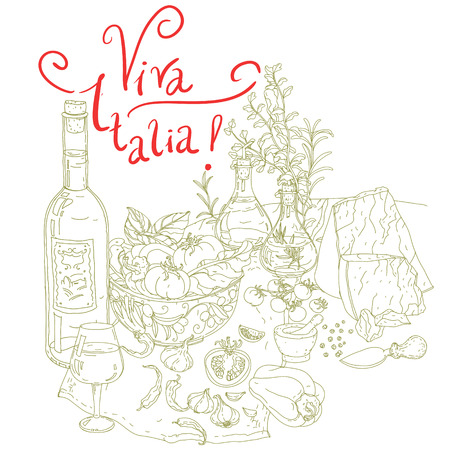italia: vector italian cuisine elements. Hand drawn silhouette on green background. includes words Viva Italia. Vegetables and herbs, olives, tomatoes, garlic. Detailed, for restaurant menu or cards