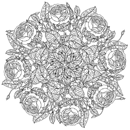 art therapy: luxury flowers bouquet in shape of mandala for adult coloring book or for zen art therapy drawing. Hand-drawn, vector, floral, very detailed, contoured, coloring book style.