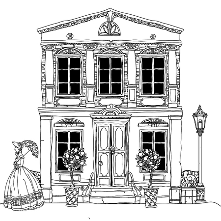 art therapy: Contoured Black and white victorian house with a strolling woman in crinoline with vintage umbrella. for adult coloring book or for zen art therapy drawing. Hand-drawn, vector, for coloring, posters