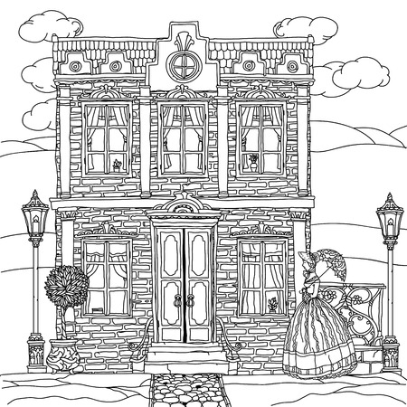 victorian house: Contoured Black and white victorian house with a strolling woman in crinoline with vintage umbrella. for adult coloring book or for zen art therapy drawing. Hand-drawn, vector, for coloring, posters
