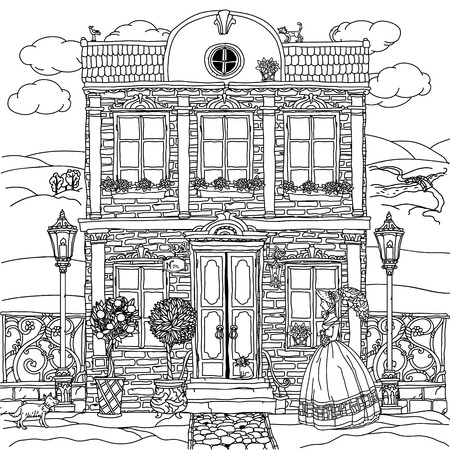 frontage: frontage of a house with flowers, plants, cat and dog for adult coloring book or for zen art therapy anti stress drawing. Hand-drawn, vector,very detailed, for coloring book, poster design, contoured Illustration