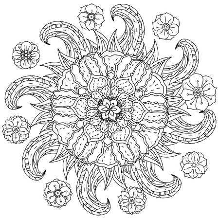 art therapy: contoured mandala shape flowers for adult coloring book in zen art therapy style for anti stress drawing. Hand-drawn, retro, doodle, vector, mandala style, for coloring book or poster design.