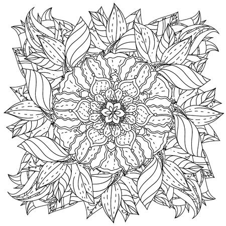 fleurs de forme de mandala profilées pour adulte livre de coloriage dans le zen style art-thérapie anti dessin stress. Hand-drawn, rétro, griffonnage, vecteur, style mandala, pour le livre de coloriage ou de la conception de l'affiche. Vecteurs