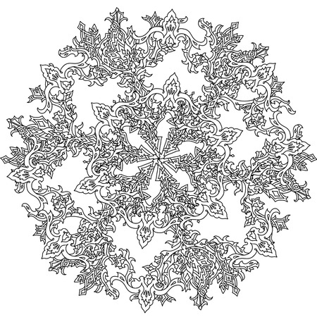 Círculo Del Ornamento De Los Copos De Nieve En Forma De Mandala Para ...