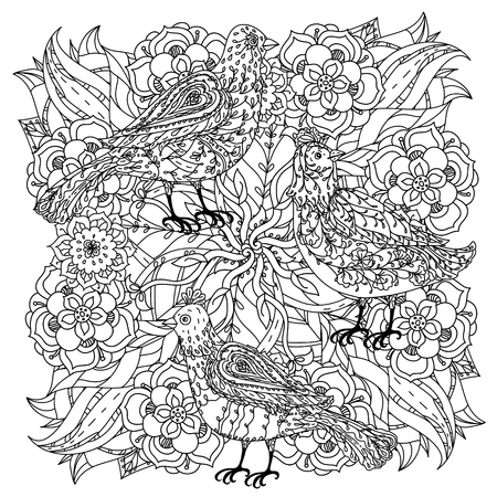 contoured: contoured mandala shape flowers and birds for adult coloring book in zen art therapy style for anti stress drawing. Hand-drawn, retro, doodle, vector, mandala style, for coloring book or poster design