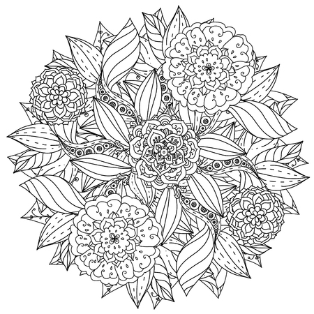 contoured: contoured mandala shape flowers for adult coloring book in zen art therapy style for anti stress drawing. Hand-drawn, retro, doodle, vector, mandala style, for coloring book or poster design.