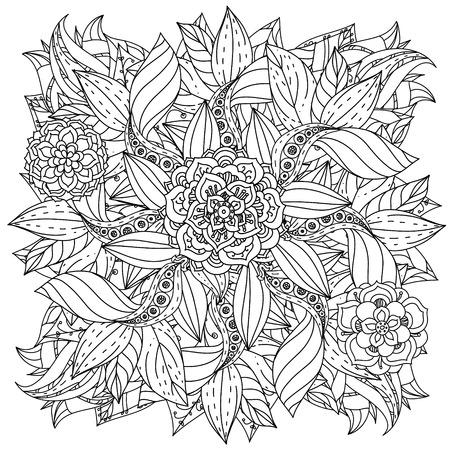 Contorneadas Flores Y Pájaros Forma De Un Mandala Para Colorear De ...