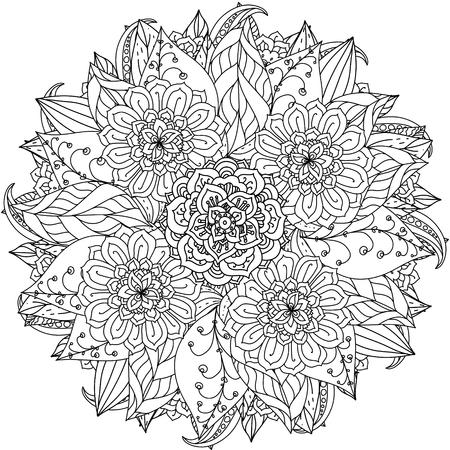 fleurs de forme de mandala profilées pour adulte livre de coloriage dans le zen style art-thérapie anti dessin stress. Hand-drawn, rétro, griffonnage, vecteur, style mandala, pour le livre de coloriage ou de la conception de l'affiche.