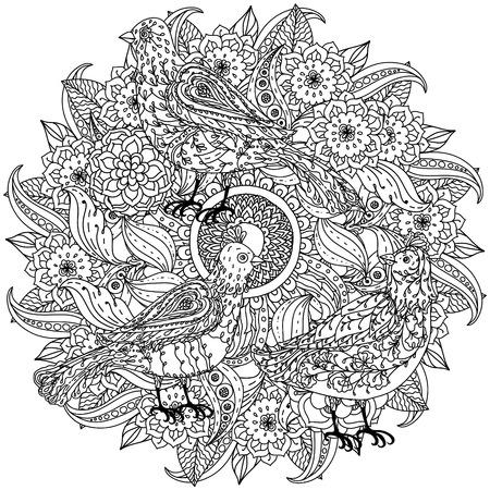 profilées fleurs de forme de mandala et les oiseaux pour adultes livre de coloriage dans le zen style art-thérapie anti dessin stress. Hand-drawn, rétro, griffonnage, vecteur, style mandala, pour le livre de coloriage ou de la conception de l'affiche Vecteurs