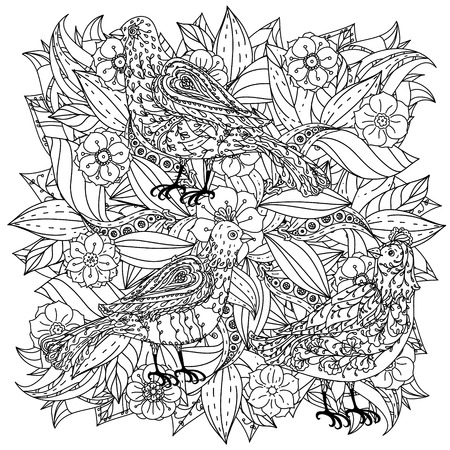 art therapy: contoured mandala shape flowers and birds for adult coloring book in zen art therapy style for anti stress drawing. Hand-drawn, retro, doodle, vector, mandala style, for coloring book or poster design