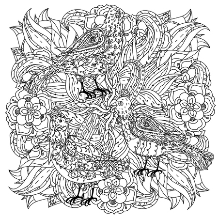 color pages: contoured mandala shape flowers and birds for adult coloring book in zen art therapy style for anti stress drawing. Hand-drawn, retro, doodle, vector, mandala style, for coloring book or poster design