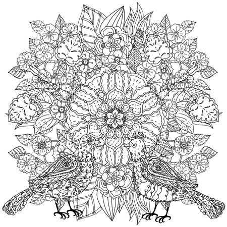 tatto: Contoured mandala shaped flowers and butterflies for adult coloring book or art therapy style zen drawing. Hand-drawn, stylish doodle in tatto style, for coloring book or fabric design in vector. Illustration