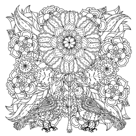 art therapy: Contoured mandala shaped flowers and birds for adult coloring book or art therapy style zen drawing. Hand-drawn, stylish doodle in tatto style, for coloring book or fabric design in vector.
