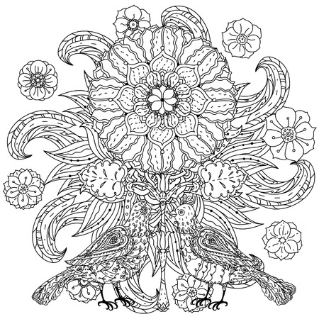 art therapy: Contoured mandala shaped flowers and butterflies for adult coloring book or art therapy style zen drawing. Hand-drawn, stylish doodle in tatto style, for coloring book or fabric design in vector. Illustration