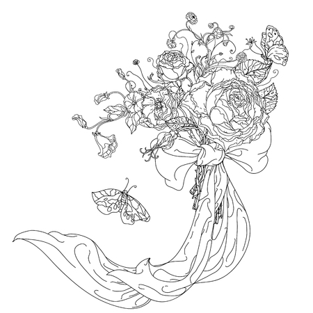 etched: Highly detailed hand drawn wild roses and ribbon for adult colouring book. Hand-drawn, doodle, vector the best for your design, wedding cards, coloring book. Black and white.