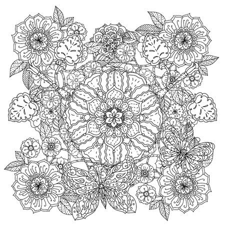 des fleurs et des papillons pour livre de coloriage adulte ou style art thérapie dessin zen en forme de mandala profilées. Hand-drawn, griffonnage élégant dans un style tatto, pour le livre de coloriage ou de la conception de tissu dans le vecteur.