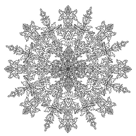 art therapy: Contoured snowflakes in shaped of mandala for adult coloring book or art therapy style zen drawing. Hand-drawn, stylish doodle in tattoo style, for coloring book or fabric design Illustration
