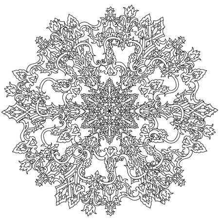 contoured: Contoured snowflakes in shaped of mandala for adult coloring book or art therapy style zen drawing. Hand-drawn, stylish doodle in tattoo style, for coloring book or fabric design Illustration