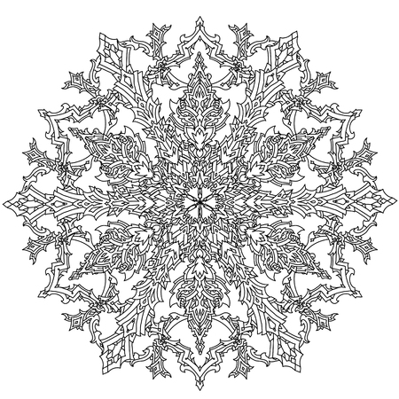 art therapy: Contoured mandala shaped snowflakes for adult coloring book or art therapy style zen drawing. Hand-drawn, stylish doodle in tattoo style, for coloring book or fabric design Illustration