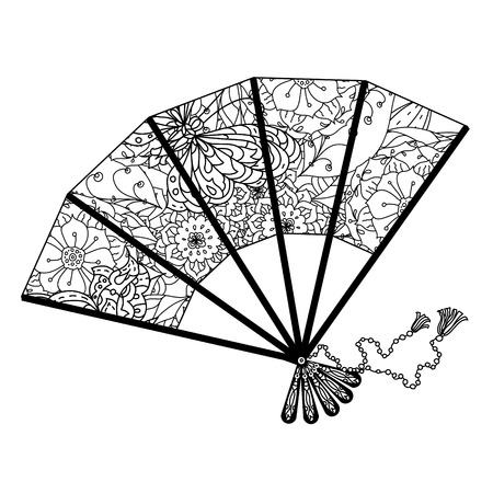 fan decorated by floral patterns for adult coloring book. Black and white. Uncolored illustration. The best for your design, textiles, posters, adult coloring book