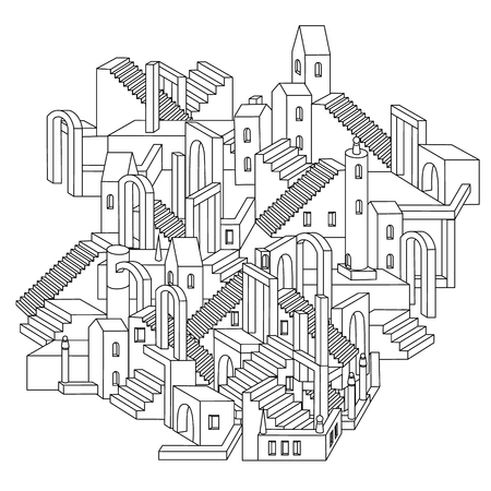 drawing of a non-existent unreal city maze with houses, walls and stairs, design in puzzle style.Vector zen art illustration. abstract ornament. Sketch for tattoo, poster or adult coloring pages