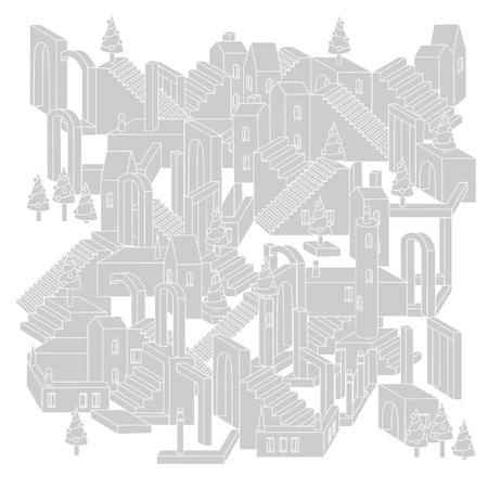 unreal: Vector drawing of non-existent unreal city maze as geometric structure, architecture style in shape of labyrinth Christmas city scene with buildings in vector. Flyer or banner element with xmas trees. Illustration