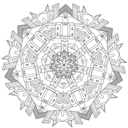 unreal: contoured drawing of a non-existent unreal city maze in mandala shape with houses, walls and stairs. Hand-drawn, doodle, vector, mandala style, detailed circle symmetry for Adult coloring book. Illustration