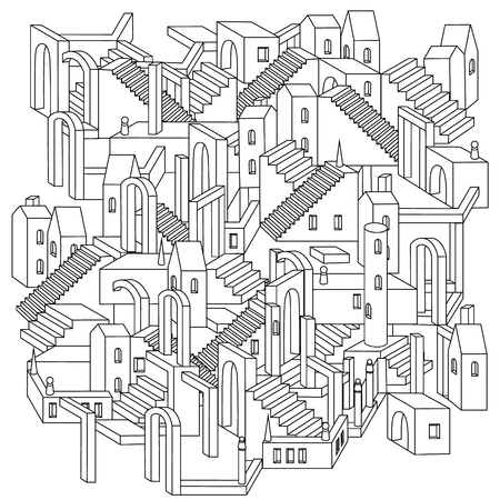 unreal: drawing of a non-existent unreal city maze with houses, walls and stairs, design in puzzle style.Vector zen art illustration. abstract ornament. Sketch for tattoo, poster or adult coloring pages