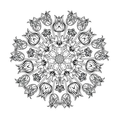 contoured: contoured luxury flowers in mandala shape. zen style picture for anti stress colouring book. Hand-drawn, doodle, vector the best for your design, wedding cards, coloring book. Black and white.