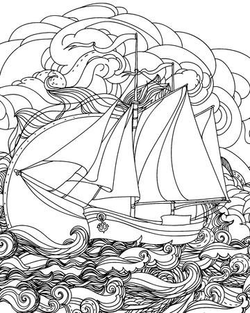 mew: Hand drawn sailboat vector