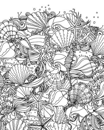 Seashell pattern art Иллюстрация