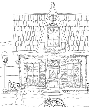 blockhouse: Christmas Fantasy house facade. Fairy tale house. high detailed. T-shirt print. Album cover. Coloring book page for adults. Black White