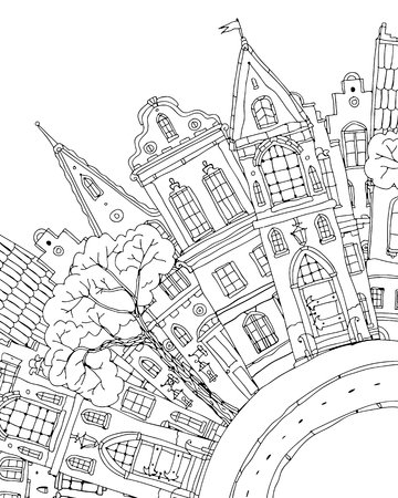 Pattern for coloring book with artistically house