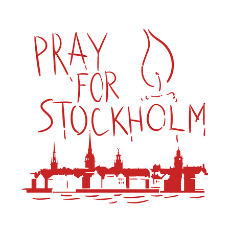 Pray for Stockholm Stock Vector - 75677478