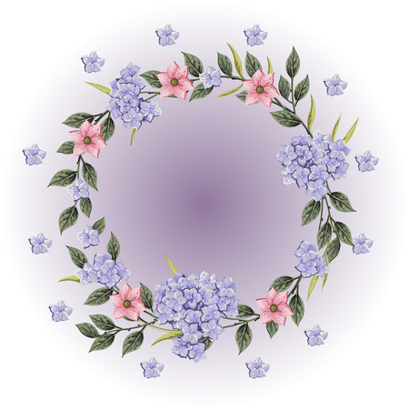 Vector flowers Beautiful wreath. Elegant floral collection with isolated blue,pink leaves and flowers, hand drawn watercolor. Design for invitation, wedding or greeting cards
