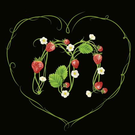 Buchstabe M mit Erdbeeren Design in Herz Umrisszeichnung Standard-Bild - 95795901