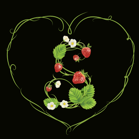 Letter S in strawberry style vector illustration design 向量圖像