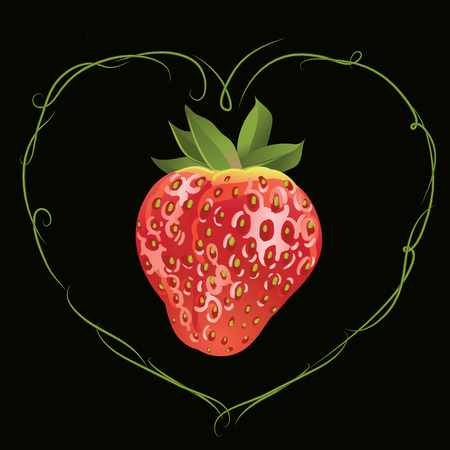 Strawberry in the shape of heart 向量圖像