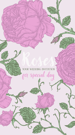 Pink roses template for wedding invitation