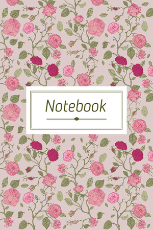 Abstract cover design with floral pattern. Title page template for notebook, copybook, sketchbook or diary.